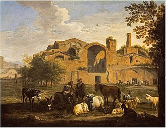 Baths of Diocletian - Landscape with Herdsmen and Animals in front of the Baths of Diocletian, by Pieter van Bloemen, c. 1700