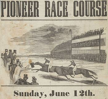 English: June 1853 advertisement of horse race...