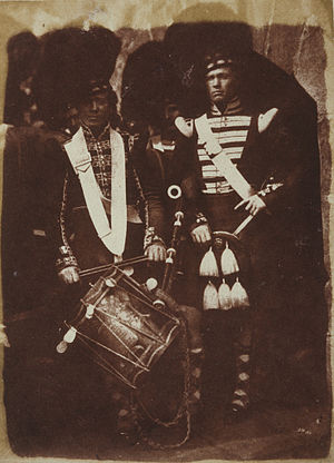 Cock o' the North (music) - A Piper and Drummer of the 92nd Gordon Highlanders, at Edinburgh Castle in 1846.