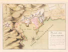 Sepia-toned map shows Collioure and Fort Saint-Elme in the 18th century.