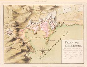 Plan de Collioure au 18e siècle