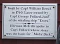 Plaque, Capt Pollard house (Moby Dick), Nantucket, Massachusetts.jpg