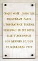 Plaque Impératrice Eugénie, Hôtel Westin, Paris 1.jpg