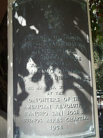 """Rancho San Jose de Buenos Ayres - Plaque in Holmby Park, Holmby Hills, Los Angeles, California. It reads, """"Marking the site of Rancho San Jose de Buenos Aires. One square league was granted to Maximo Alanis and title confirmed in 1843. This marker was placed by the Daughters of the American Revolution Rancho San Jose de Buenos Aires Chapter. 1954"""""""