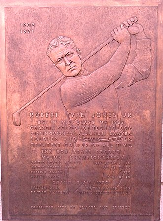 Bobby Jones (golfer) - Plaque on  Georgia Tech campus