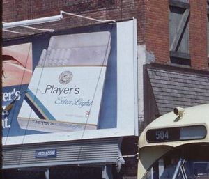 John Player & Sons - Pack of Player's Extra Lights shown on a billboard in Toronto, Ontario, Canada. ca. 1980.