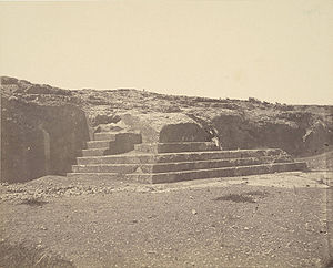 Pnyx - Albumen print of carved speaker's staircase of the Pnyx, taken circa 1865-1895, looking west.