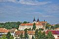 Pohled na baziliku a zámek z jihu, Třebíč.jpg