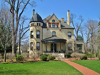 Fort Sheridan, Illinois - Post Commanders' Quarters, Building 9 in the Fort Sheridan Historic District. They were the most elaborate houses on the base. Like most of Fort Sheridan, it has been converted to a private residence.