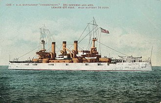 USS Connecticut (BB-18) - Postcard of the ship published in San Francisco