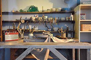 Lucie Rie - Lucie Rie's workshop, as exhibited in the Victoria and Albert Museum, London