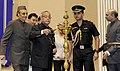 Pranab Mukherjee lighting the lamp to inaugurate the National Education Day 2012 function to commemorate the birth anniversary of Maulana Abul Kalam Azad, in New Delhi. The Union Minister for Human Resource Development.jpg