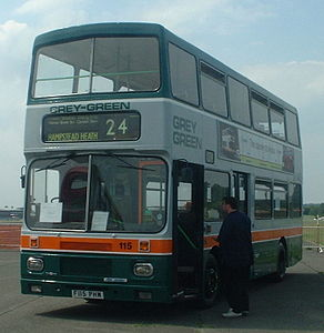 Preserved Grey-Green bus 115 (F115 PHM) 1988 Volvo Citybus Alexander RV, 2003 North Weald bus rally.jpg