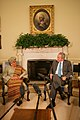 President George W. Bush and President Ellen Johnson Sirleaf of Liberia Participate in a Press Pool After a Meeting in the Oval Office.jpg