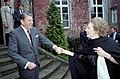President Greeting Prime Minister Margaret Thatcher for a Bilateral Meeting at Schloss Gymnich in Bonn Federal Republic of Germany.jpg