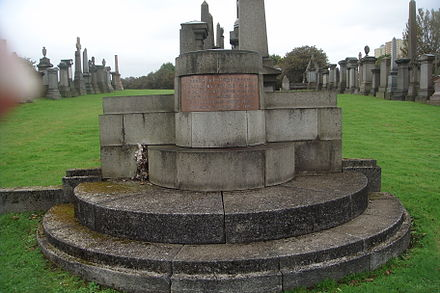 The Professors' Monument in Glasgow Necropolis where Reid's remains were placed. Prof's Monument.JPG