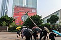 Protesters destroy Sheung Yuet Road lamppost 20190824.jpg