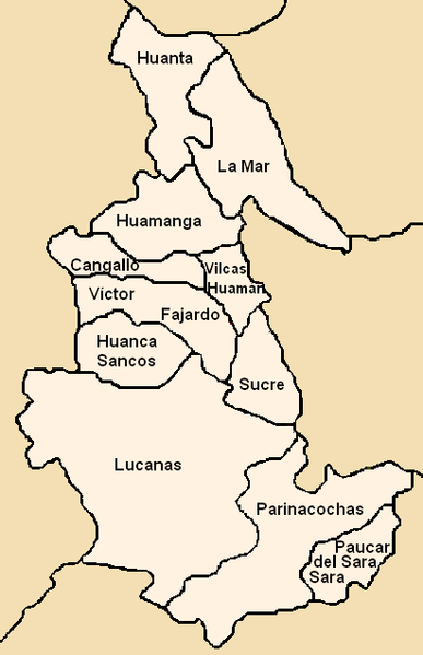 Datei:Provinces of the Ayacucho region in Peru.png