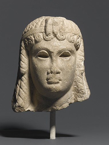 Egyptian portrait of a Ptolemaic queen, possibly Cleopatra, c. 51-30 BC, located in the Brooklyn Museum Ptolemaic Queen (Cleopatra VII%3F), 50-30 B.C.E., 71.12.jpg
