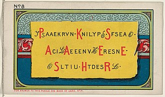 Washington Duke - Image: Puzzle Card Number 8, The Cryptogram Puzzle, from the Jokes series (N118) issued by Duke Sons & Co. to promote Honest Long Cut Tobacco MET DPB873753