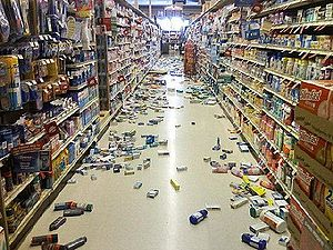 2008 Chino Hills earthquake - The earthquake knocked down merchandise inside buildings such as this Yorba Linda grocery store.