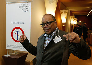 Quincy Jones - Jones during an annual meeting in 2004 of the World Economic Forum in Davos, Switzerland, January 21, 2004
