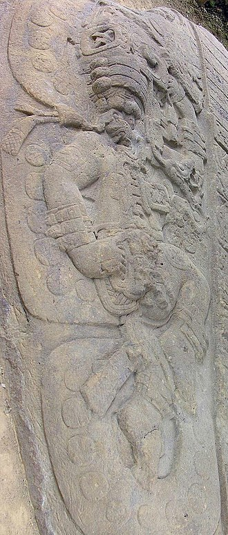 Yopaat - Sculpted image of Yopaat on Quirigua Altar O'