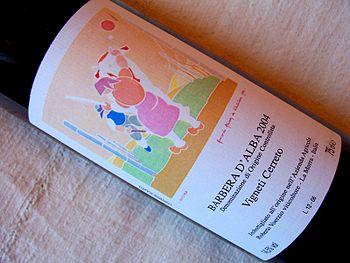 A bottle of the R. Voerzio Barbera d'Alba Vign...