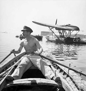 RAAF pilot with captured CANT Z.501 at Augusta 1943.jpg