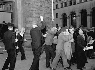 Vancouver - Plainclothes RCMP officers attack Relief Camp Workers' Union protesters in 1938. Several protests over unemployment occurred in the city during the Great Depression.