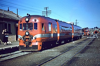 NZR RM class (88 seater) - 88-seater railcar RM 114 at Kaikoura Railway Station during the 1960s.