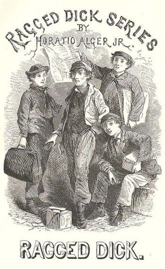 "Ragged Dick - A plate from an early edition depicting a ""smasher"" (luggage boy), a newsboy, and two bootblacks"