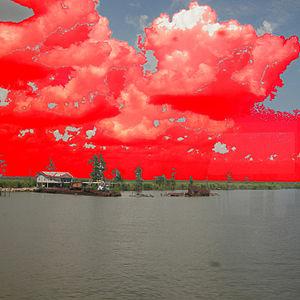 "Aviva Rahmani - Warming Skies Over the Louisiana Bayous Seen from a Train Window digital photographic print on aluminum, 48"" x 48"", 2009. (Photograph by Aviva Rahmani)"