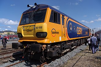 British Rail Class 92 - 92032 was displayed at Railfest 2012 in newly painted Europorte GBRf livery.