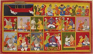 The Painting shows the return of Rama in a pus...