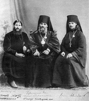 Sergei Trufanov - Rasputin, Hermogen and Iliodor next to each other in 1906. In 1912 Alexandra ordered Hermogen to be banished to a monastery, after beating Rasputin with a crucifix; Iliodor went into exile after the attack by Khioniya Guseva in June 1914.
