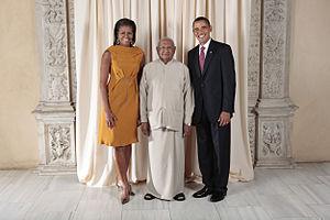 Sri Lanka–United States relations - Ratnasiri Wickremanayake with President of the United States Barack Obama and Michelle Obama