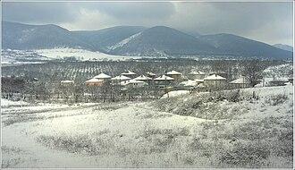 Targovishte Province - Winter view of Razboyna village with the Preslav Mountains in the background