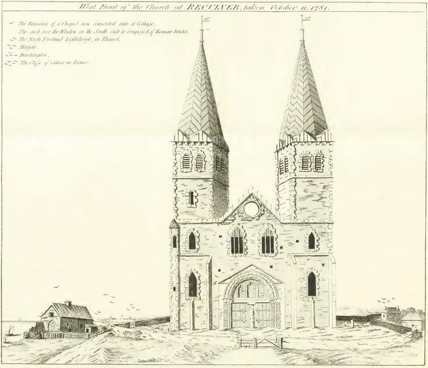 Reculver west front Pridden 1781