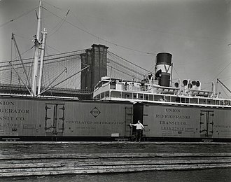 Union Refrigerator Transit Line - URTX cars on pier 19, East River, Manhattan. 1936