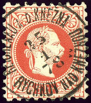 Rychnov nad Kněžnou - Bilingual cancellation in 1878: Reichenau a.d. Knezna - Rychnov nad Kněžnou
