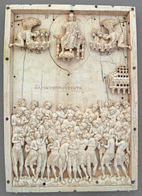 An example of Macedonian ivorywork: the Forty Martyrs of Sebaste, now in the Bode Museum, Berlin.