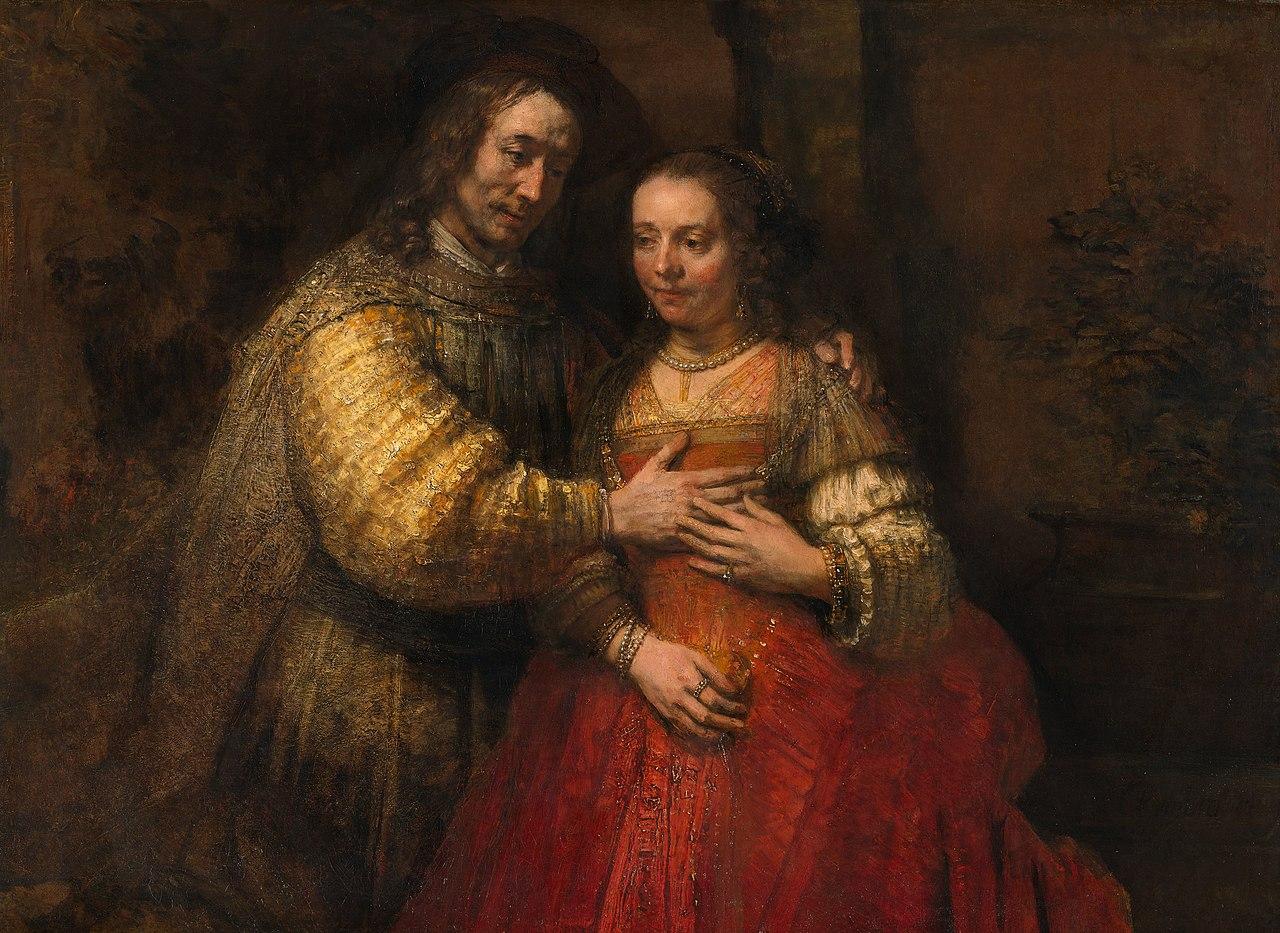 Рембрандт Харменс.  ван Рейн - Portret van een paar als oudtestamentische figuren, genaamd 'Het Joodse bruidje' - Google Art Project.jpg