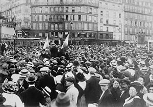 French Army in World War I - Photograph shows reservists and crowd at the Gare de Paris-Est, Paris during the beginning of World War I