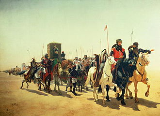 Third Crusade - Richard the Lionheart marches towards Jerusalem. James William Glass (1850).