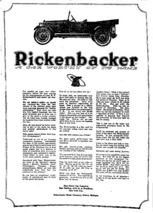 Rickenbacker (car) - Image: Rickenbacker car ad