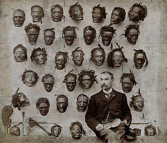 Mokomokai - H.G. Robley with his mokomokai collection