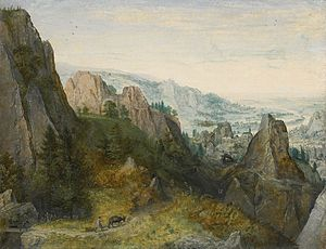 Lucas van Valckenborch - Rocky Landscape with Travelers on a Path