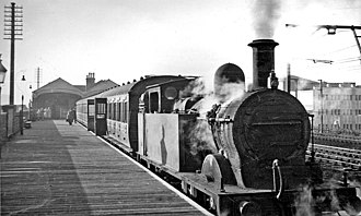 Romford railway station - Platform 1 (for Upminster services) pictured in 1950