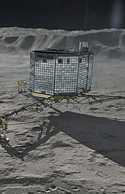 Rosetta's Philae on Comet 67P Churyumov-Gerasimenko mainsite crop.jpg
